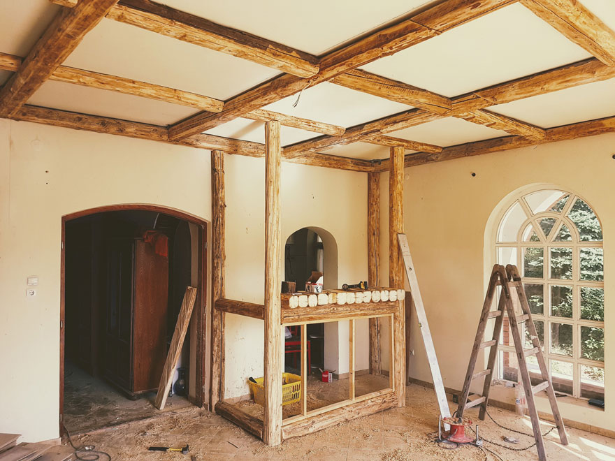 Visible rafters in a room
