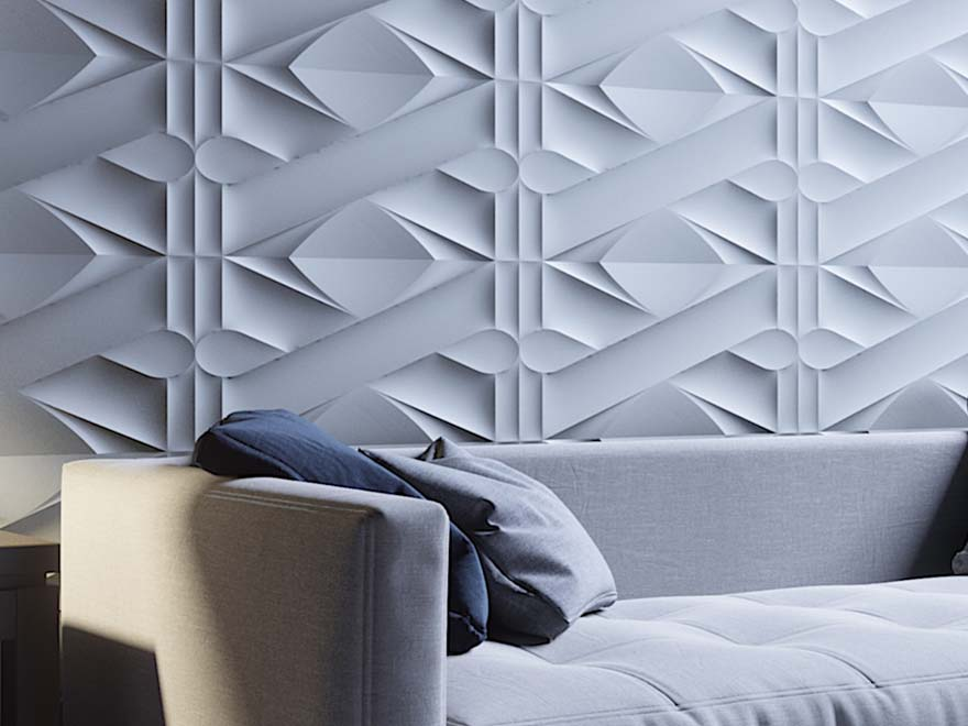 White design wallpaper wall covering in living room