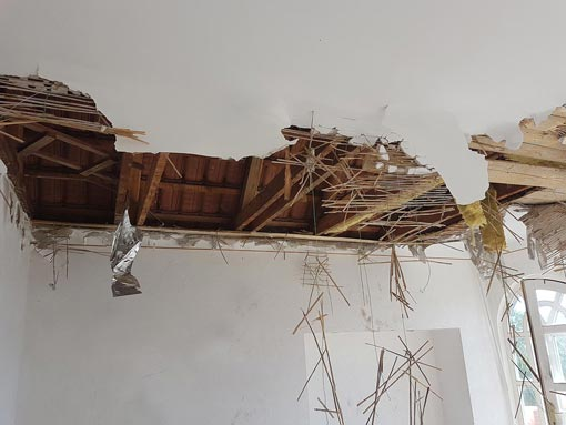 Ceiling during demolition process