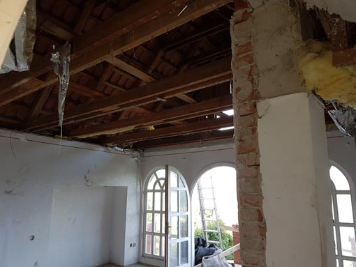 Demolished ceiling