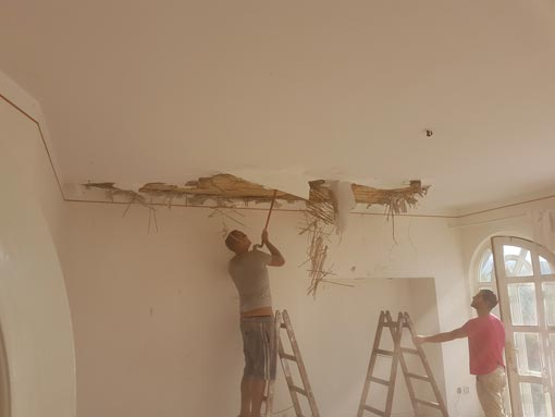 Demolition of roof in family house