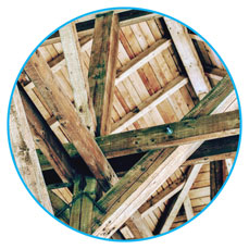 Wood roof structure from inside from the attick